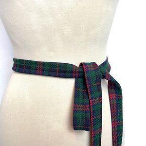 Vintage Plaid Tartan Tie Belt